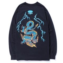 L/S WASHED LIGHTNING DRAGON POCKET TEE