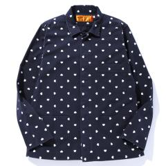 L/S HEARTS PRINTED WORK SHIRT