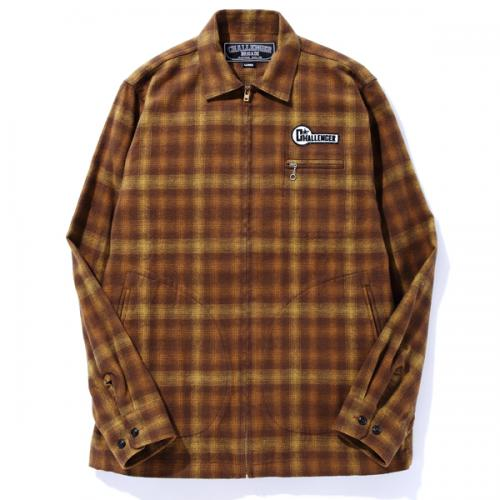 L/S CHECK FLANNEL ZIP UP SHIRT