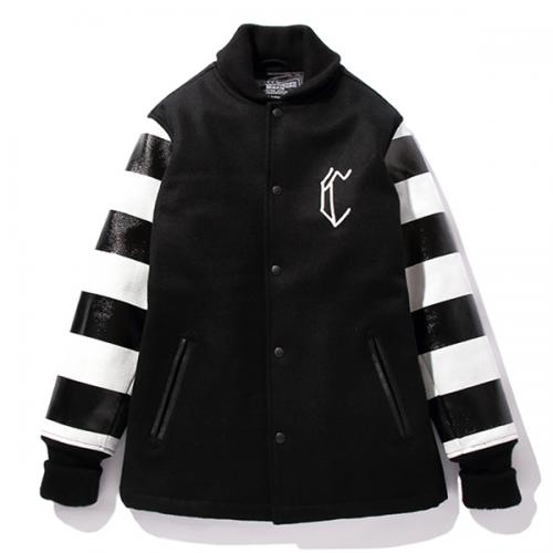 BORDER PRINTED VARSITY JACKET